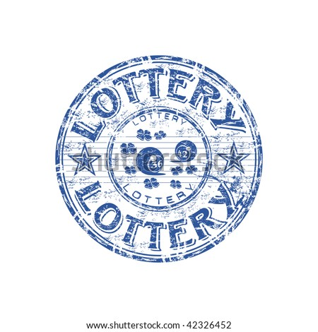 Blue grunge rubber stamp with small clovers, lottery balls and the text lottery written inside the stamp