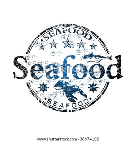 Blue grunge rubber stamp with small stars, fish shape, lobster and the word seafood written inside the stamp