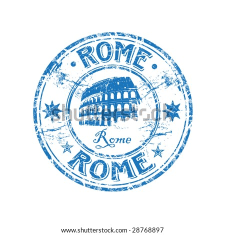 Blue grunge rubber stamp with the Colosseum shape from Rome, Italy