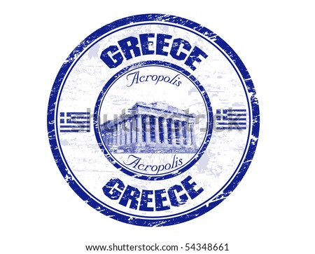 Blue grunge rubber stamp with the Parthenon shape from Greece and the name Greece written inside the stamp - stock vector