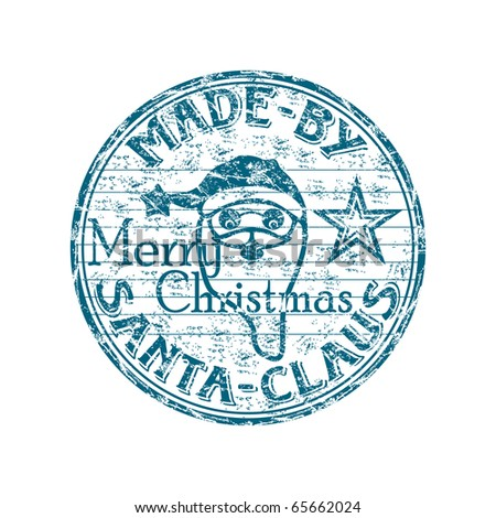 Blue grunge rubber stamp with the text made by Santa written inside the stamp