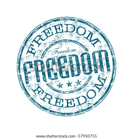Blue grunge rubber stamp with the word freedom written inside the stamp