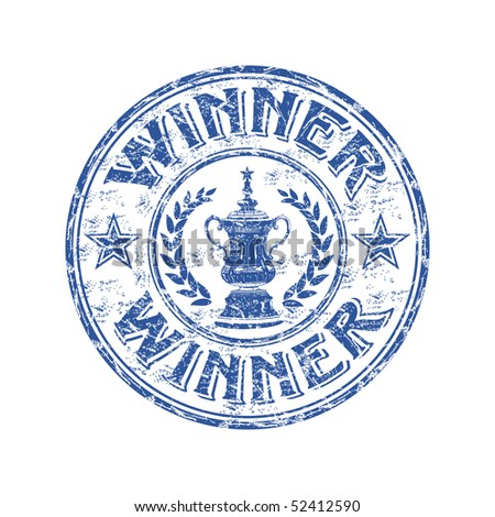 Blue grunge rubber stamp with winner cup and the word winner written inside the stamp