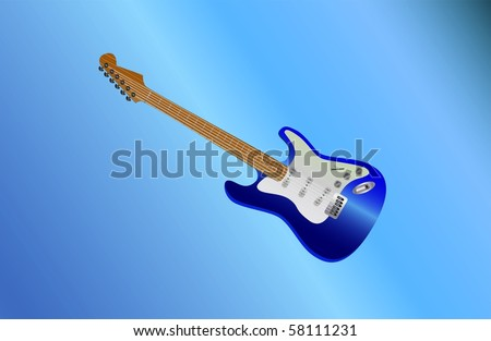 blue guitar lying ( background on separate layer )