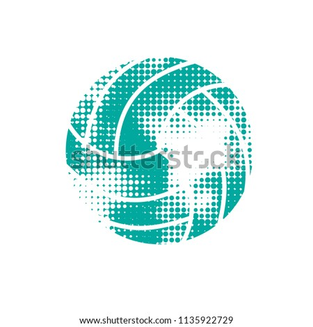 Blue halftone volleyball isolated on white background