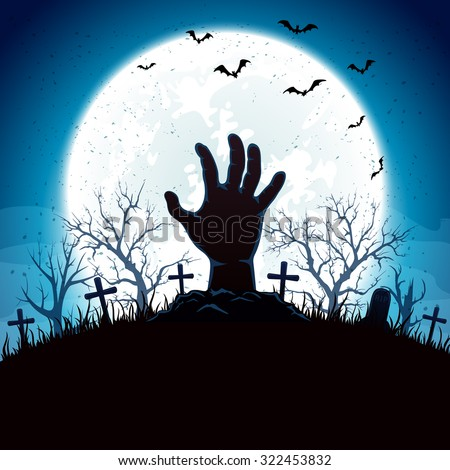 Blue Halloween background with hand on cemetery and Moon, illustration. #322453832