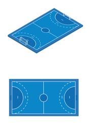Blue handball field. vector illustration