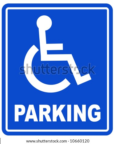 blue handicap parking or wheelchair parking space sign - vector