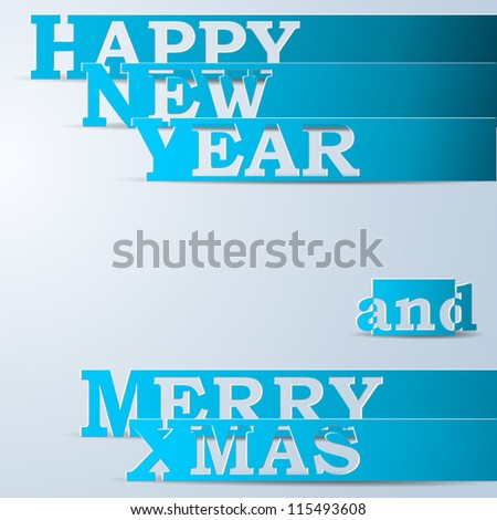 Blue Happy New Year & Merry Xmas paper strips