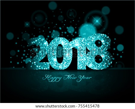 Blue 2018 happy new year on the background