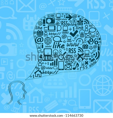 Blue Head Silhouette with Think Bubble Chat. Social Media Network Concept.