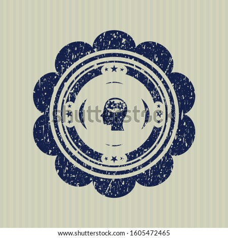 Blue head with gears inside icon inside distressed grunge stamp