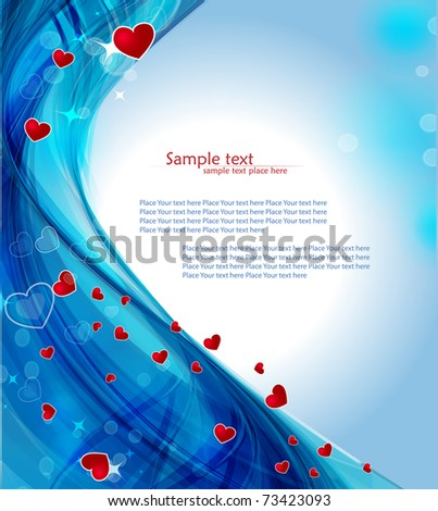 stock vector Blue heart background with glowing effectVector