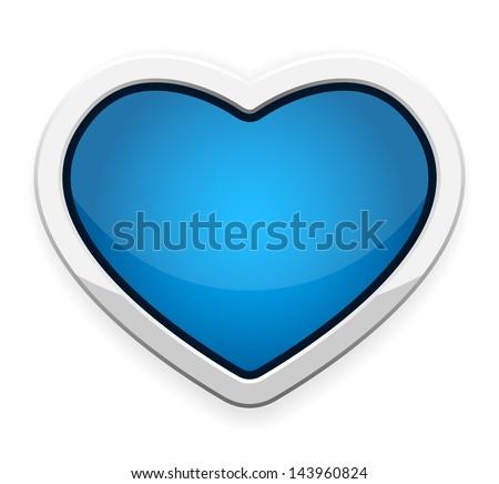 blue heart button vector