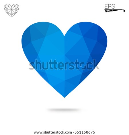 blue heart isolated on white