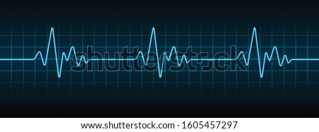 Blue Heartbeat Pulse Monitor, ECG or EKG Cardio Graph for Healthy and Medical Analysis