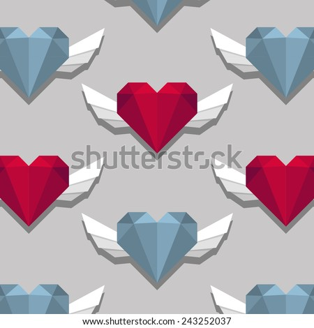 blue hearts on grey background