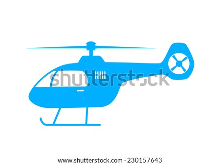 blue helicopter icon on white