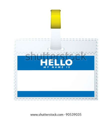 Blue hello my name is business tag with copyspace