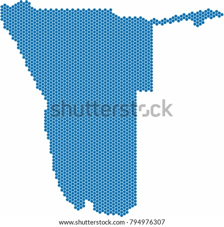 blue hexagon shape namibia map
