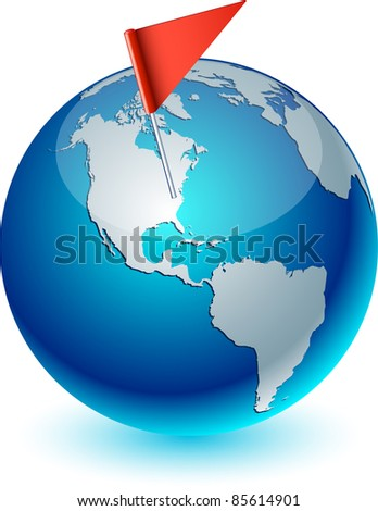 Blue high-detailed earth ball. Vector illustration.