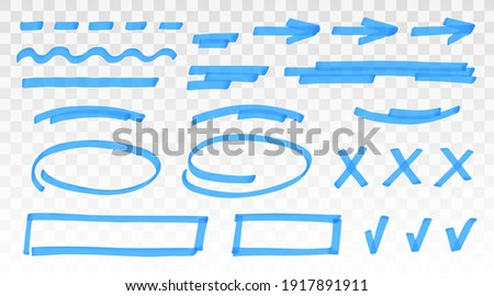 Blue highlighter set - lines, arrows, crosses, check, oval, rectangle isolated on transparent background. Marker pen highlight underline strokes. Vector hand drawn graphic stylish element Foto stock ©