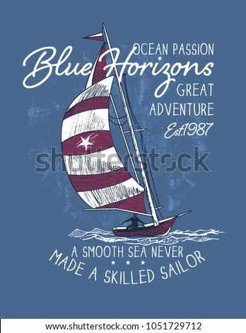 Blue horizons.sketch sail graphic design.Can be used as t shirt printing design.