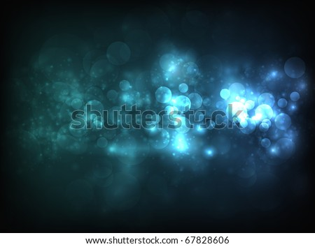 Blue horizontal bokeh-like blur design on dark background. Design has a lot of bokeh particles and lights