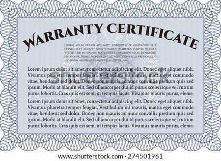 Blue horizontal warranty certificate template