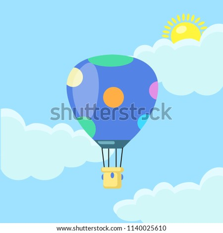 Blue hot air balloon, aircraft in the sky with clouds isolated on blue background. Aerospace, airship with basket. Flat cartoon design. Vector illustration.