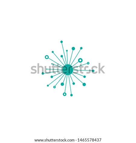 blue hub network connection line icon isolated on white. Tech or technology logo. Server or central database button. System links symbol. Connected communities , compaies, offices