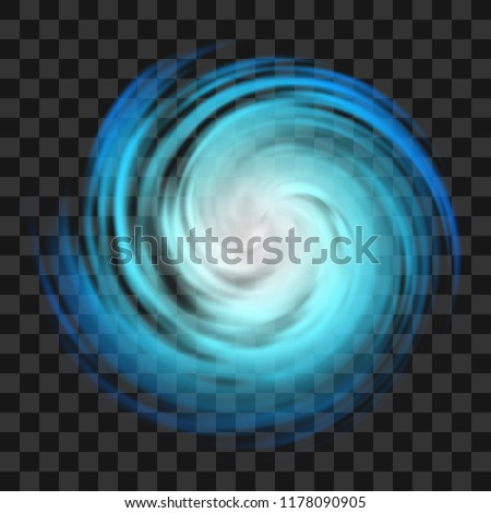 Blue hurricane symbol, tornado, typhoon, white swirl clouds, twister on dark transparent background, top view. Danger cyclone vector illustration, icon, logo, web infographic