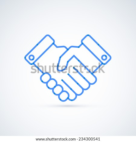 Blue icon handshake. Business and finance concept