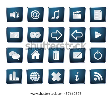 blue icon set glossy