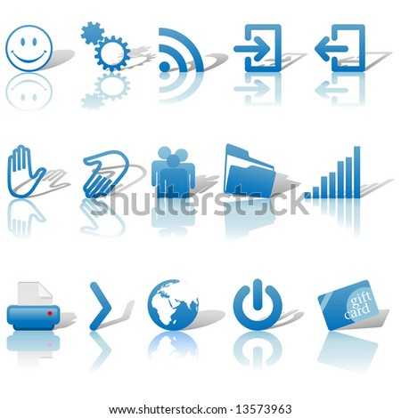 blue icon symbol set 2  printer
