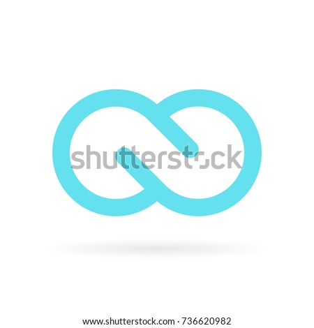 Blue infinite vector symbol isolated on white background