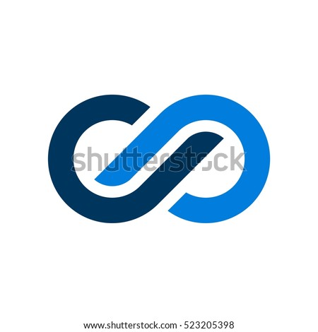 Blue Infinity Vector Logo Template