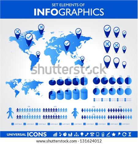 Blue infographic set