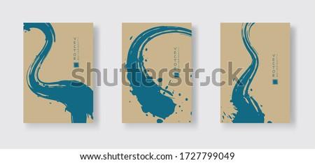 Blue ink brush stroke on color background. Japanese style. Vector illustration of grunge wave stains.Vector brushes illustration.