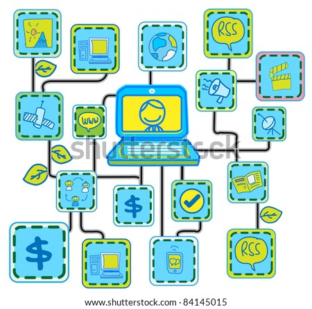 Blue Internet Networking link  vector