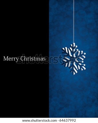 Blue invitation card template - Christmas background
