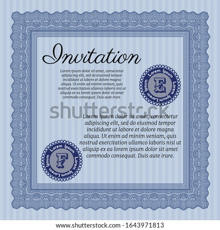 Blue Invitation. With great quality guilloche pattern. Sophisticated design. Customizable, Easy to edit and change colors.