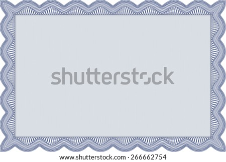 Blue isolated Certificate, Diploma of completion; design template with guilloche pattern, border, frame.