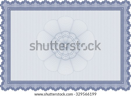 Blue isolated Certificate of achievement template. With great quality guilloche pattern. Vector pattern that is used in money and certificate.Good design.