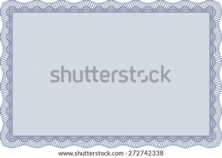 Blue isolated certificate with complex frame design