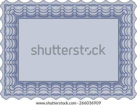 Blue isolated illustration of detailed certificate (diploma) #266036909