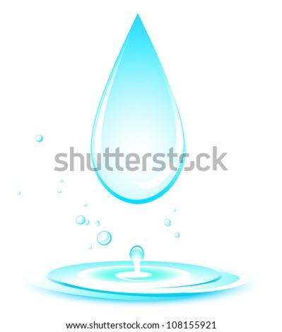 blue isolated water splash on white background