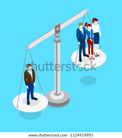 Blue isometric background with comparison of employees qualification. Vector 3d design illustration.