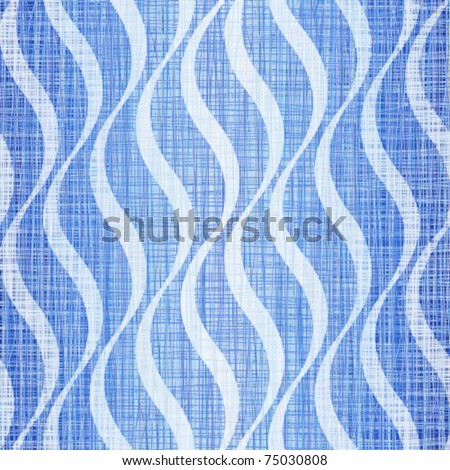 Blue jeans linen cotton fabric with a wavy pattern