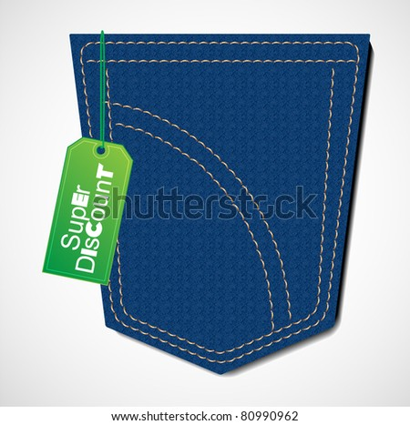 blue jeans with discount tag